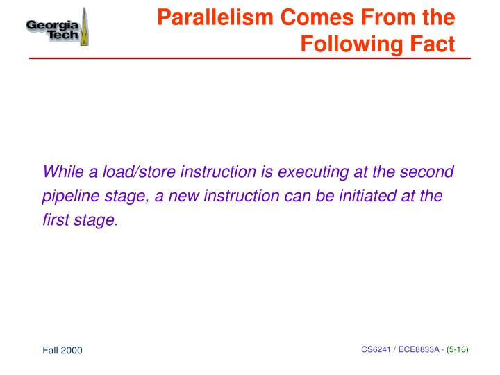 Parallelism Comes From the Following Fact