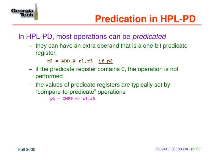 Predication in HPL-PD