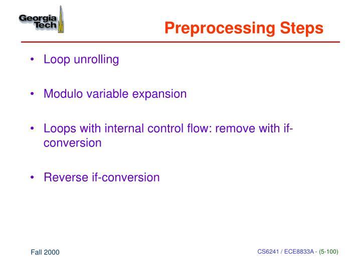Preprocessing Steps