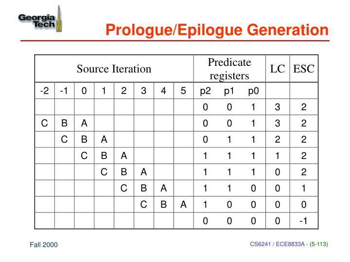 Prologue/Epilogue Generation