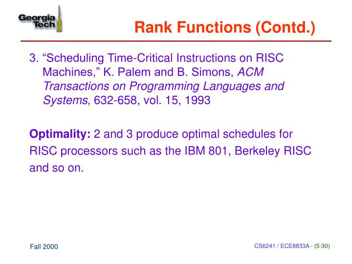 Rank Functions (Contd.)