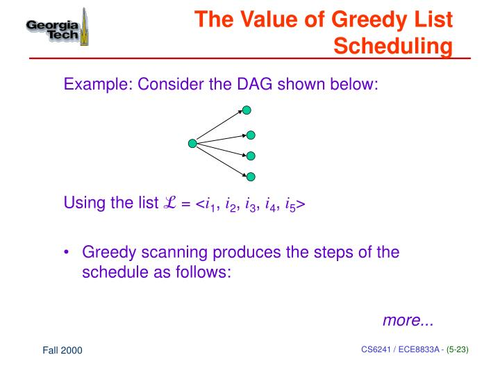 The Value of Greedy List Scheduling