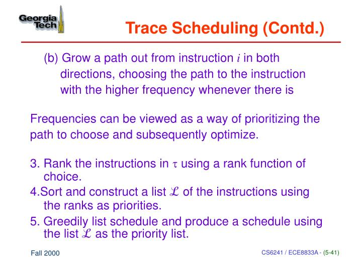 Trace Scheduling (Contd.)