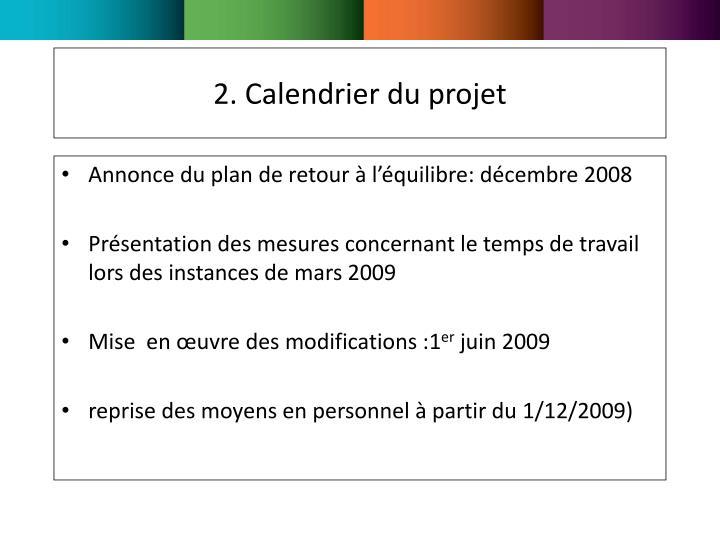 2. Calendrier du projet