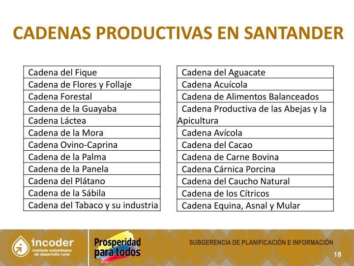 cadenas productivas en Santander