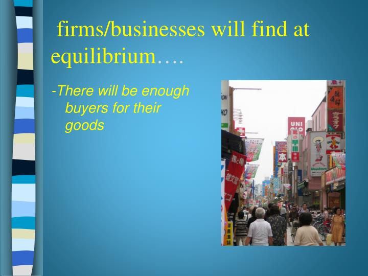 firms/businesses will find at equilibrium