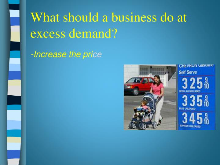 What should a business do at excess demand?