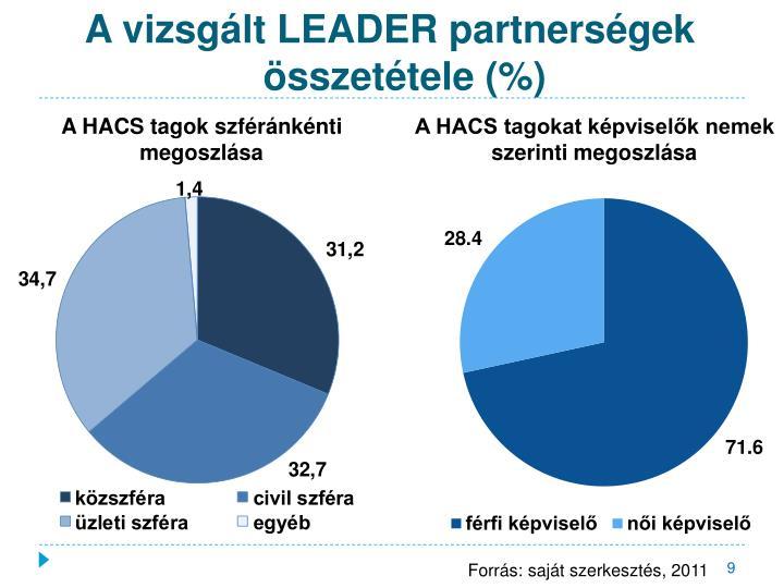 A vizsgált LEADER partnerségek összetétele (%)