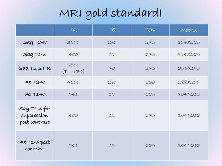 MRI gold standard!