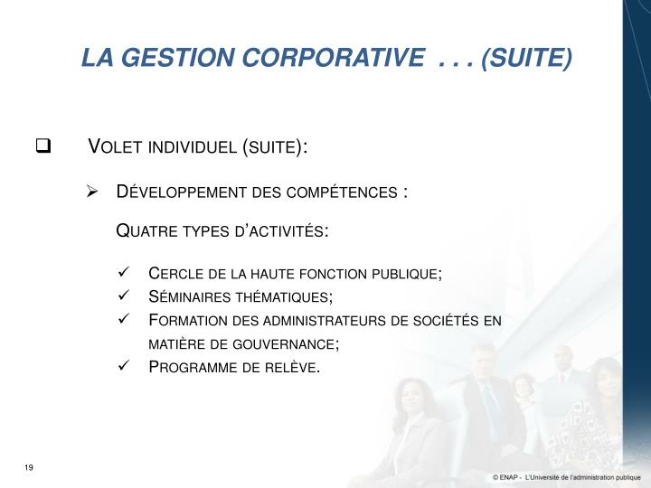 LA GESTION CORPORATIVE  . . . (suite)