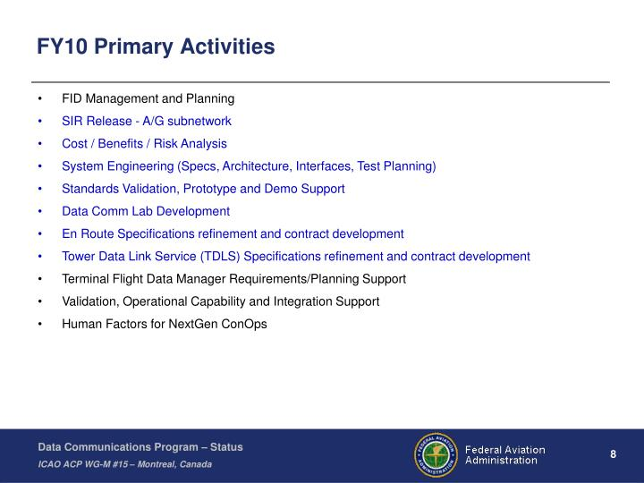 FY10 Primary Activities