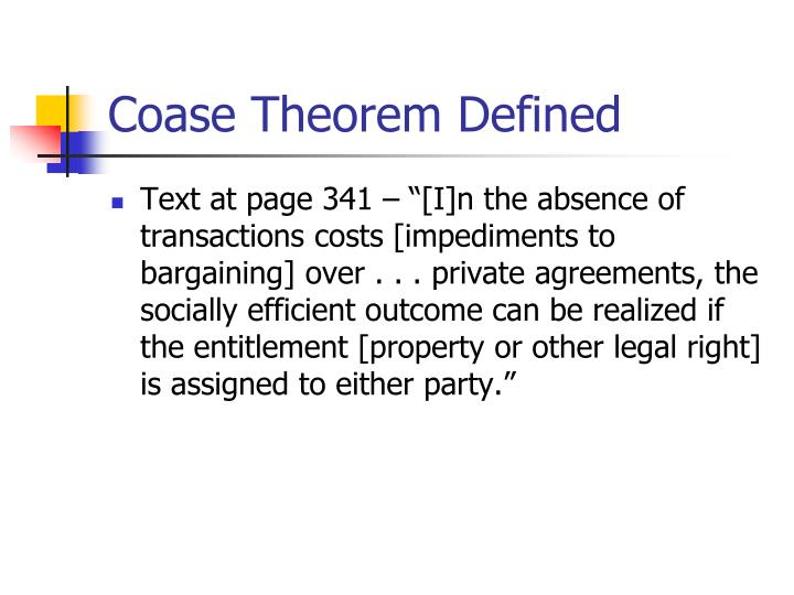 Coase Theorem Defined