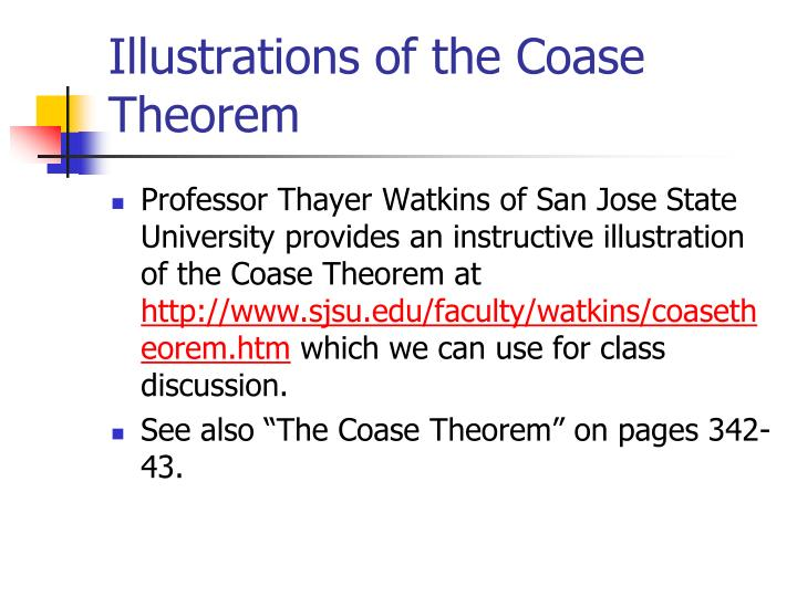 Illustrations of the Coase Theorem