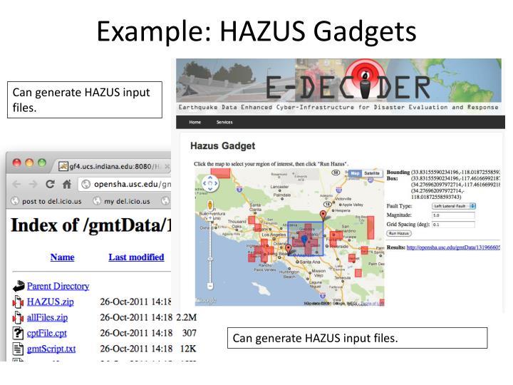 Example: HAZUS Gadgets