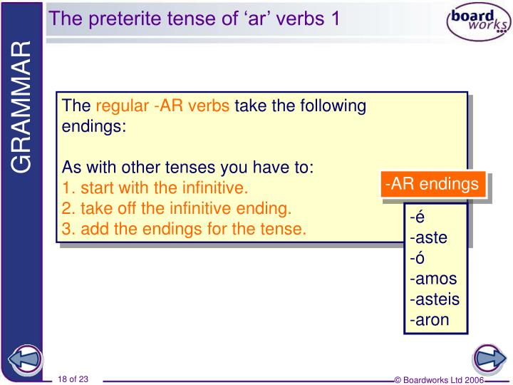 The preterite tense of 'ar' verbs 1