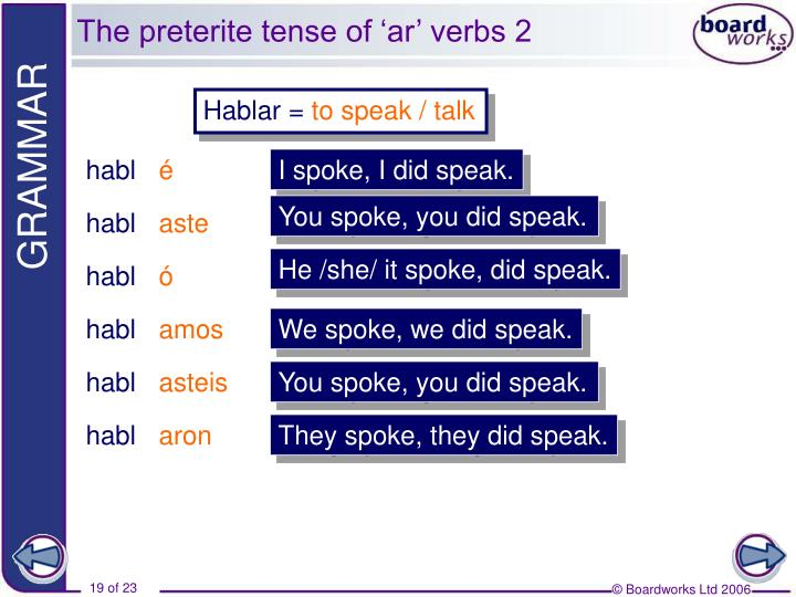 The preterite tense of 'ar' verbs 2