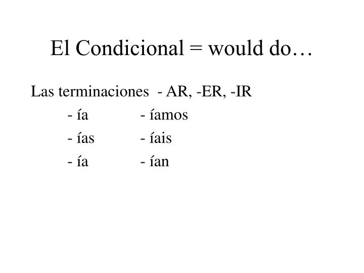 El Condicional = would do…
