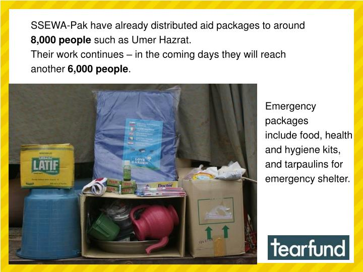 SSEWA-Pak have already distributed aid packages to around