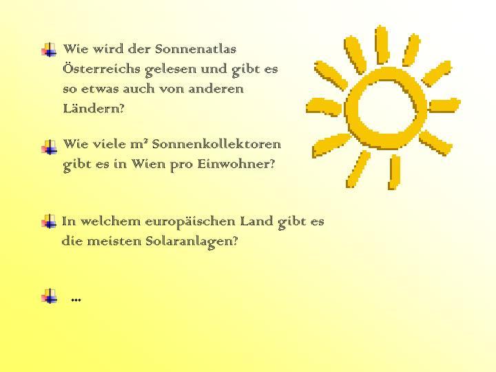 Wie wird der Sonnenatlas Österreichs gelesen und gibt es so etwas auch von anderen Ländern?