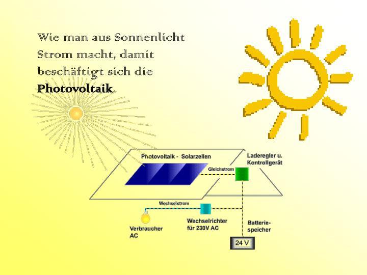 Wie man aus Sonnenlicht Strom macht, damit beschäftigt sich die