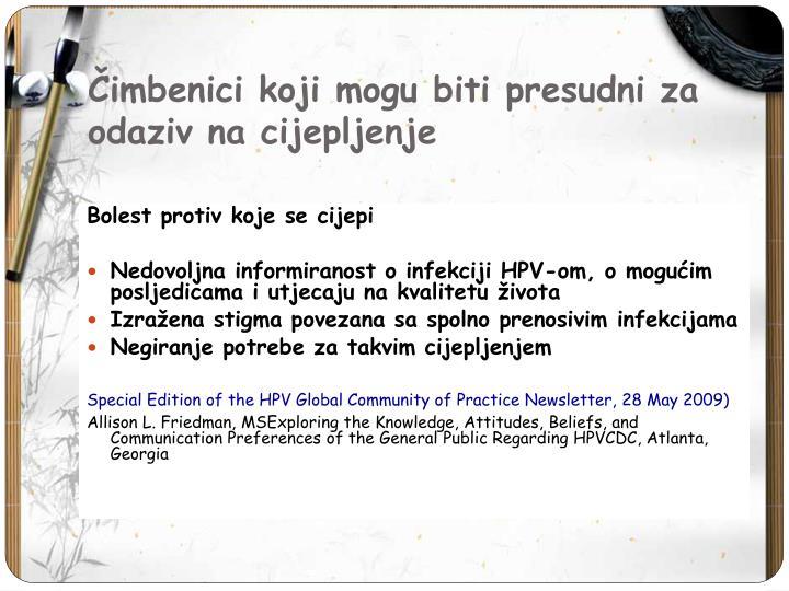 Čimbenici koji mogu biti presudni za odaziv na cijepljenje