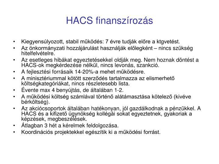 HACS finanszírozás