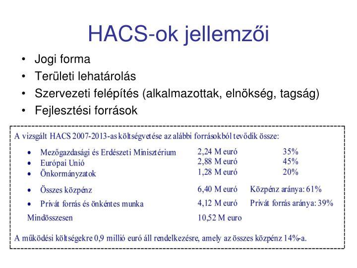 HACS-ok jellemzői