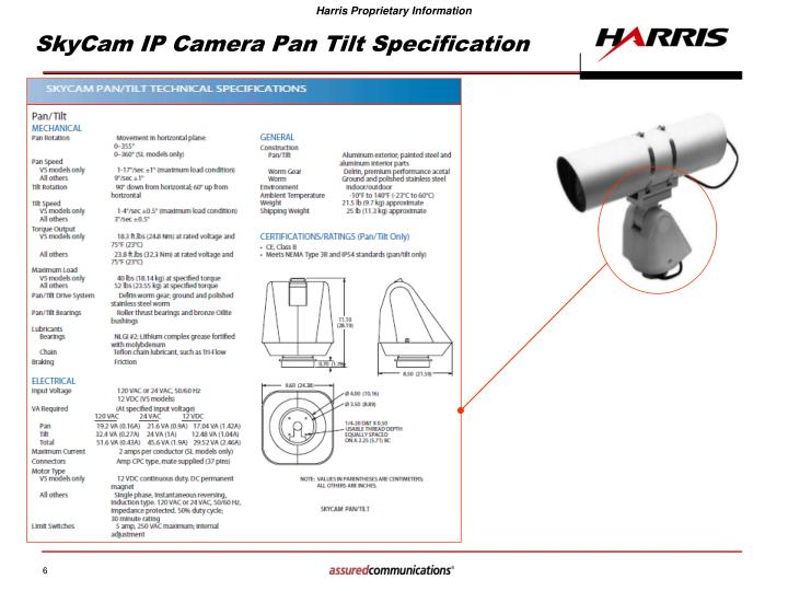 SkyCam IP Camera Pan Tilt Specification
