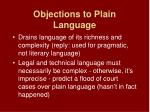 objections to plain language