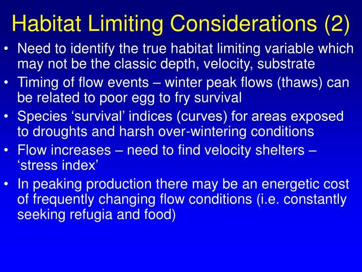 Habitat Limiting Considerations (2)