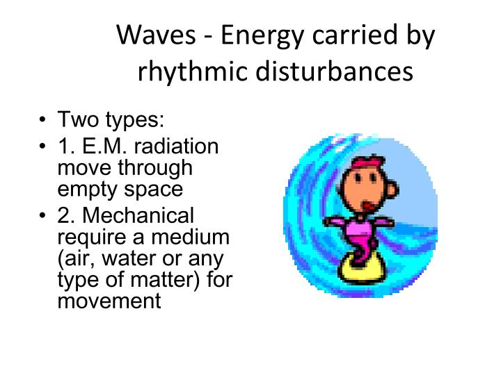 Waves - Energy carried by rhythmic disturbances
