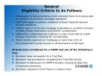 general eligibility criteria is as follows