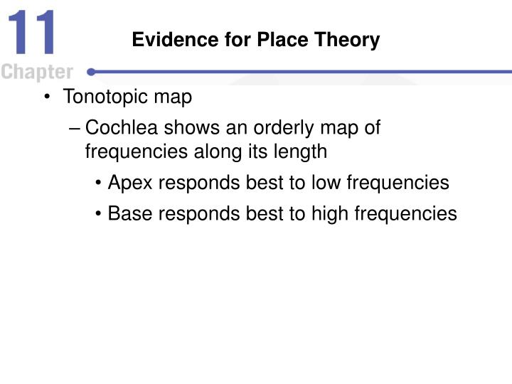 Evidence for Place Theory