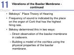 vibrations of the basilar membrane continued