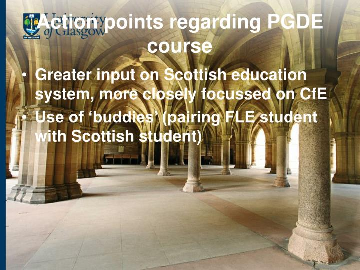 Action points regarding PGDE course