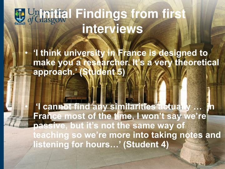 Initial Findings from first interviews