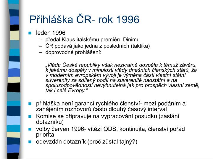 Přihláška ČR- rok 1996