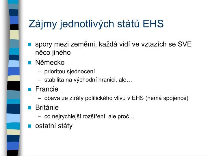 Zájmy jednotlivých států EHS