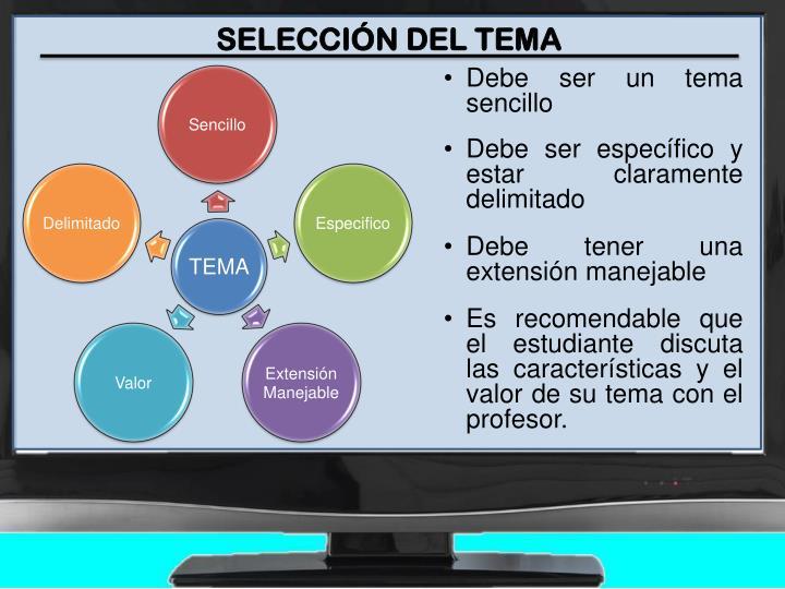 SELECCIÓN DEL TEMA