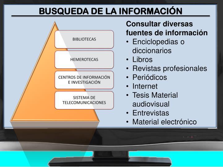 BUSQUEDA DE LA INFORMACIÓN