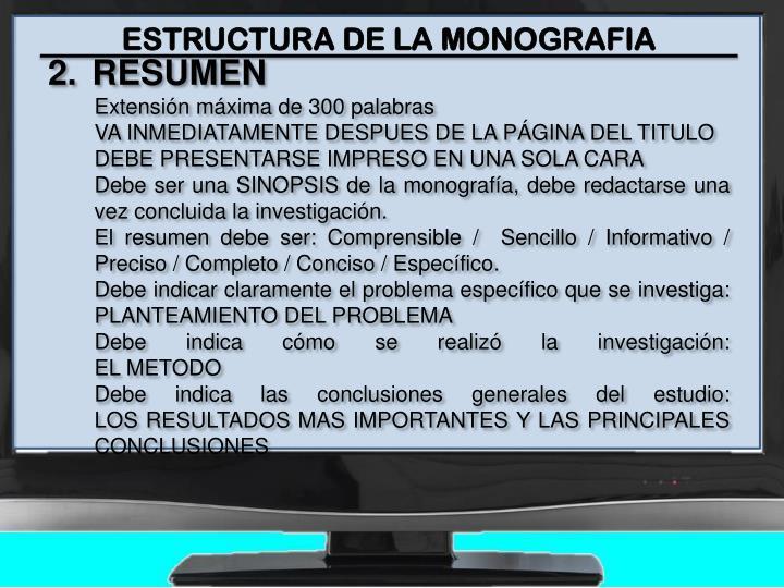 ESTRUCTURA DE LA MONOGRAFIA