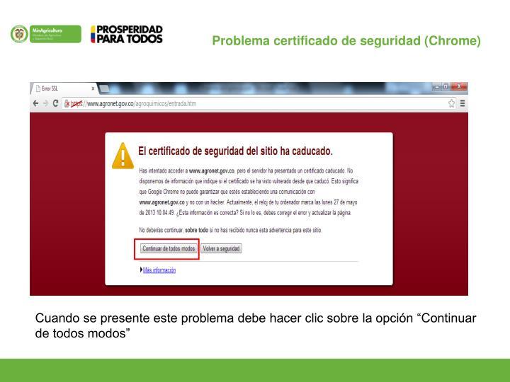 Problema certificado de seguridad (