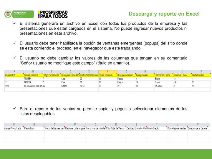 Descarga y reporte en Excel