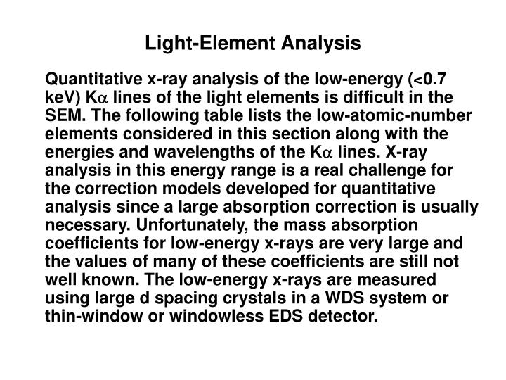 Light-Element Analysis