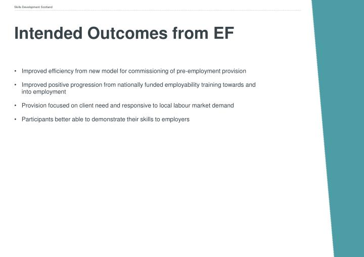 Intended outcomes from ef