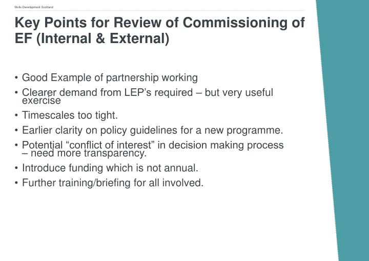 Key Points for Review of Commissioning of EF (Internal & External)