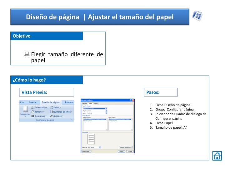 Diseño de página  | Ajustar el tamaño del papel