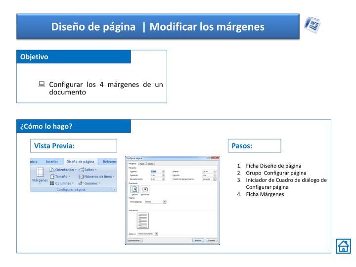 Diseño de página  | Modificar los márgenes