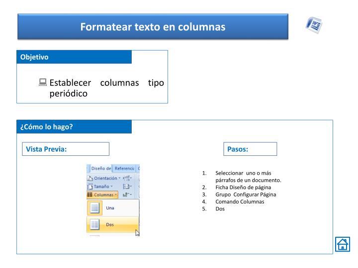 Formatear texto en columnas