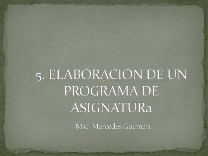 5. ELABORACION DE UN PROGRAMA DE